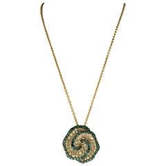 Designer Effy's Blue and White Diamond Celtic Pendant /Necklace 14 Karat Gold