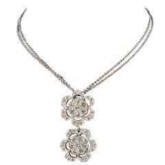 Designer Effy's Diamond Double Flower Double Chain Pendant/Necklace 14 KW Gold