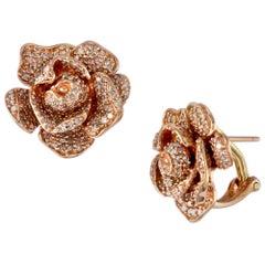 Designer Effy's Diamond Rose Flower Stud Omega back Earrings 14 Karat Rose Gold
