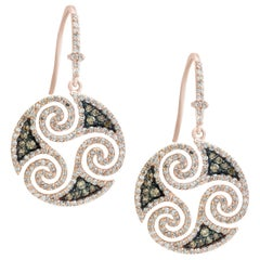 Designer Effy's Expresso Diamond & Diamond Hanging/Drop Earrings 14 Kt Rose Gold