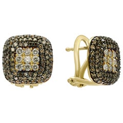 Designer Effy's Expresso Diamond and Diamond Stud Earrings 14 Karat Yellow Gold