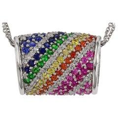 Designer Effy's Multi Sapphire & Diamond Pendant /Necklace 14 Karat Gold + Chain