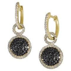 Designer Effy's Natural Black Diamond and Diamond Dangling Earrings 14K Y Gold