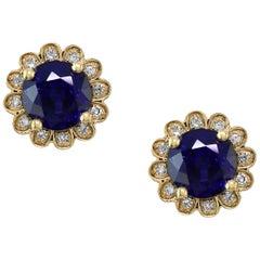 Designer Effy's Natural Diffused Ceylon Sapphire &Diamond Stud Earrings 14K Gold