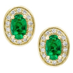 Designer Effy's Natural Oval Emerald & Diamond Stud Post Earrings 14 Karat Gold