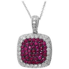 Designer Effy's Natural Ruby and Diamond Pendant /Necklace 14 Karat Gold + Chain