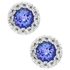 Designer Effy's Round Tanzanite and Diamond Stud Earrings 14 Karat White Gold