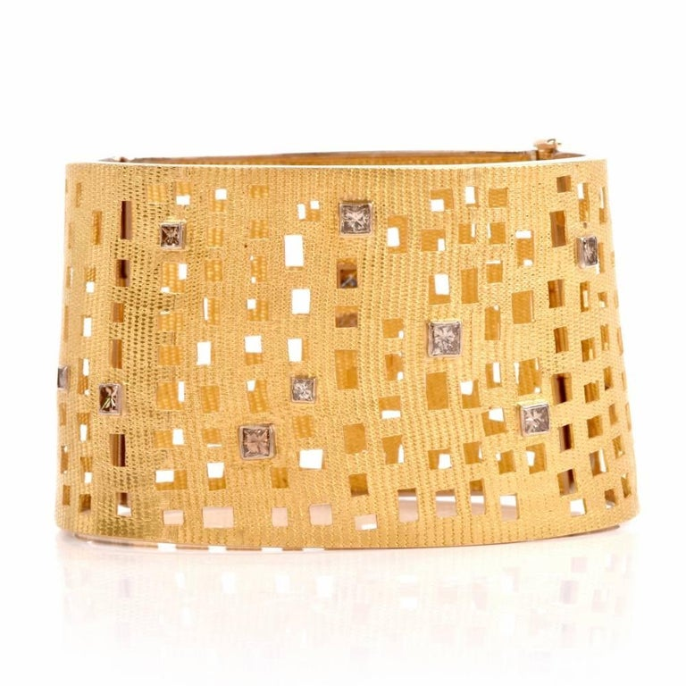 Modern Wide Diamond Gold Open Work Bracelet In Excellent Condition For Sale In Miami, FL