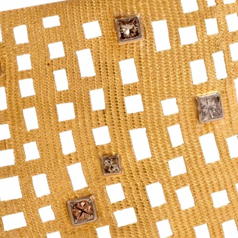 Women's Modern Wide Diamond Gold Open Work Bracelet For Sale