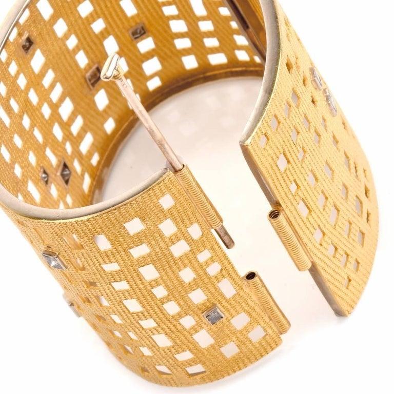 Modern Wide Diamond Gold Open Work Bracelet For Sale 1
