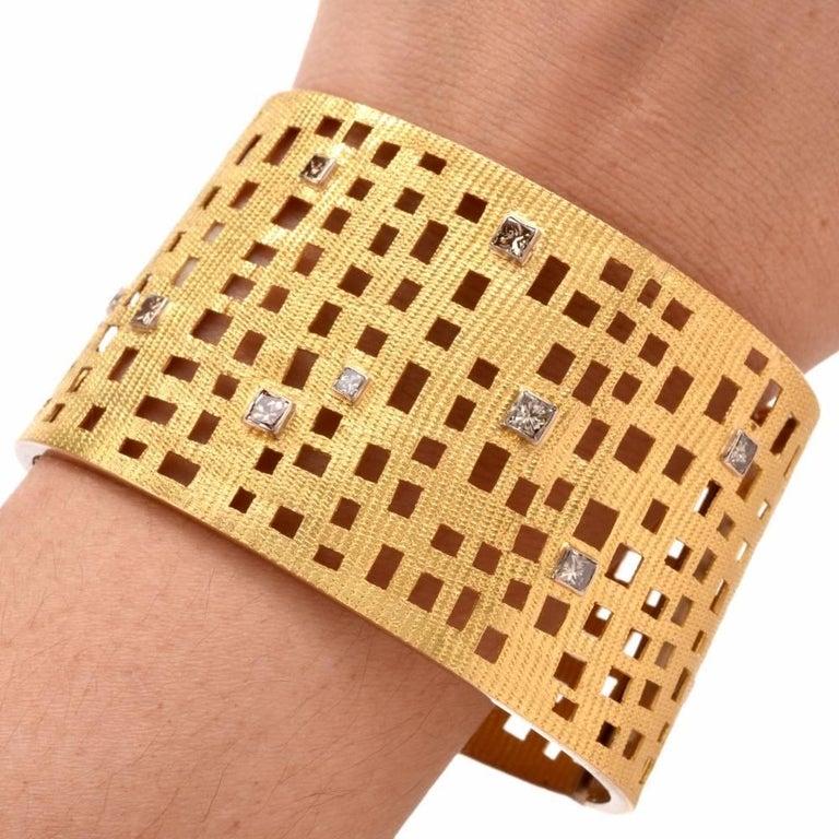 Modern Wide Diamond Gold Open Work Bracelet For Sale 2