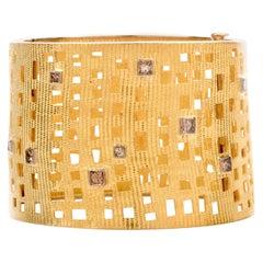 Designer Egyptian Inspired Yellow Gold Fancy Diamond Wide Bracelet