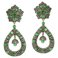 Designer Emerald and Diamond Dangle Earring in Gold and Silver
