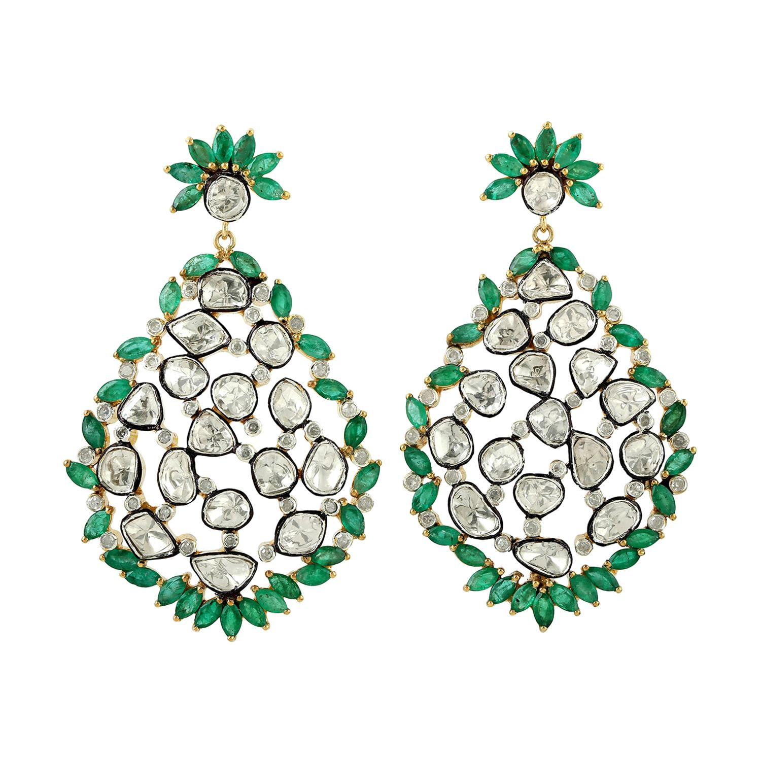 Designer Emerald and Rosecut Diamond Dangle Earring in 18K Gold and Silver