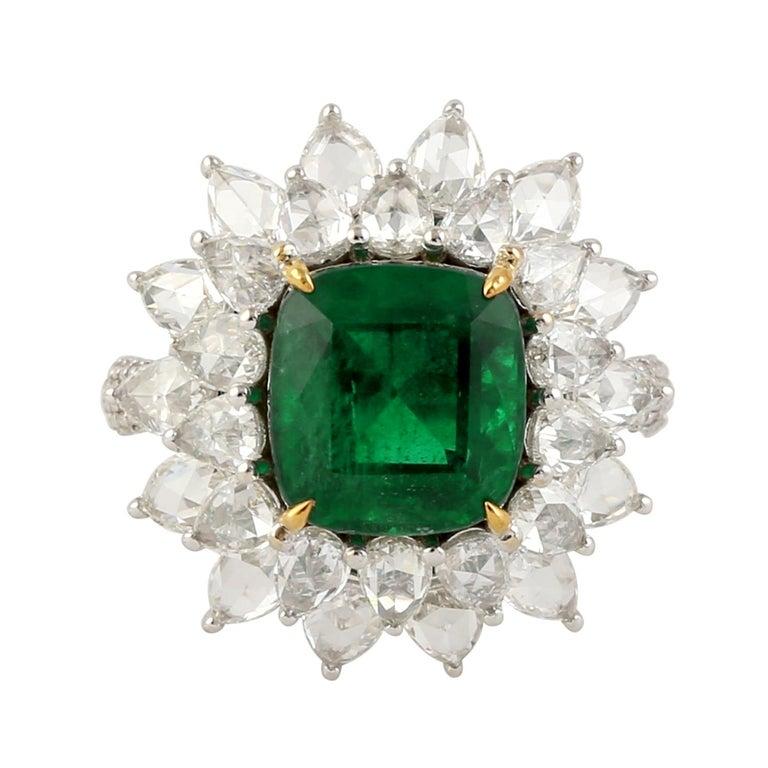 Emerald Cut Designer Emerald and White Diamond Ring in 18K white Gold For Sale