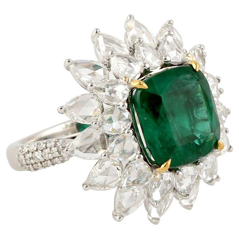 Designer Emerald and White Diamond Ring in 18K white Gold For Sale
