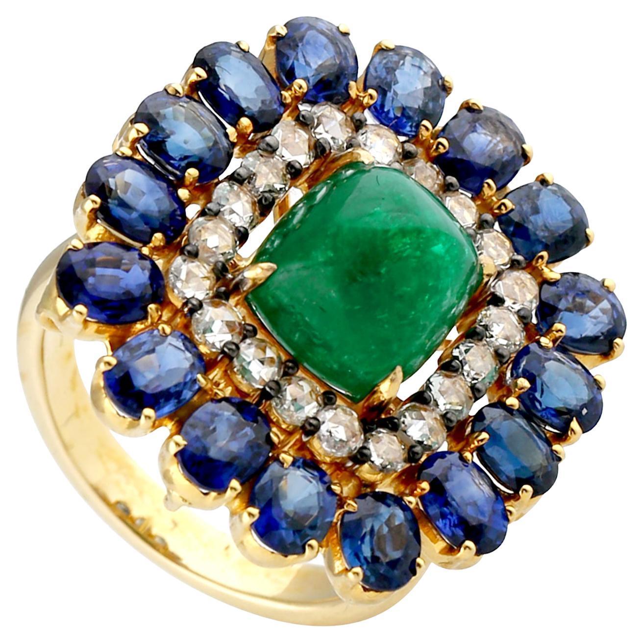 Designer Emerald Sapphire and Diamond Ring in 14k Yellow Gold