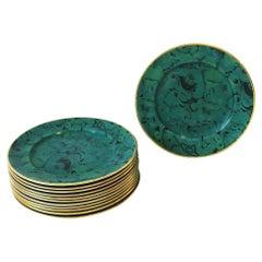 Designer English Green Malachite and Gold Porcelain Dinner Plates, Set of 12