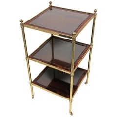 Designer English Regency Brass Glass and Mahogany Table by William Tillman