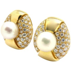 Designer Estate Cartier Pearl and Round Diamond Pave Earrings 18K Yellow Gold