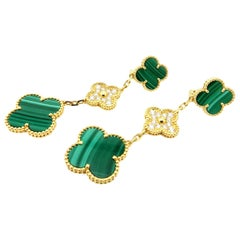 Designer Estate Van Cleef & Arpels Malachite and Diamond Alhambra 18K Earrings