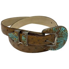 Designer Fabulous Turquoise Inlay Sterling Silver Buckle and Leather Belt