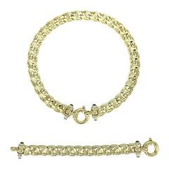 Designer Fancy Italian Choker Swirl Link Chain & Bracelet Blue Sapphire Set
