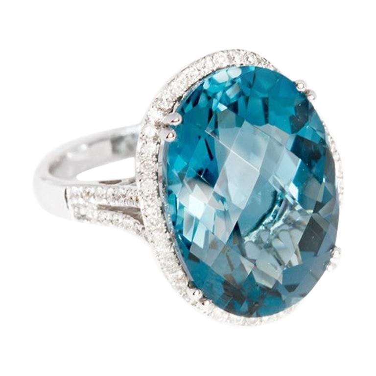 Designer Fashion Fine Jewelry Topaz White Diamond Gold Ring