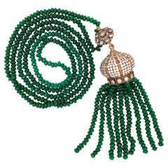 Designer Faux Green Jade and Diamante Long Gilt Necklace Fine Estate Jewelry