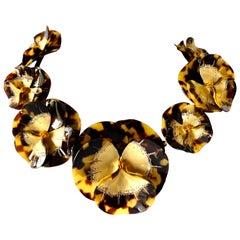 Designer Faux Tortoise Gold-leaf Pansy Statement Necklace