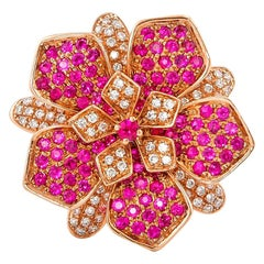 Designer Floral Ring in 14 Karat Rose Gold with Diamonds and Ruby