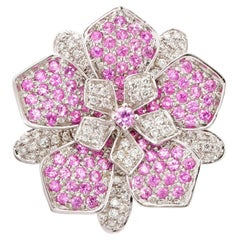 Designer Floral Ring in 14 Karat White Gold with Diamonds and Pink Sapphire