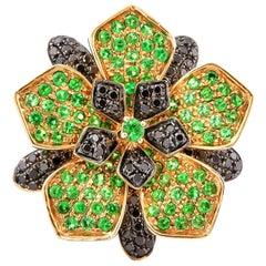 Tsavorite & Diamond Floral Ring in 14 Karat Yellow Gold