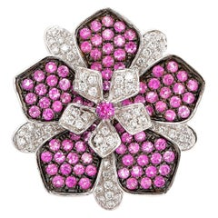 Designer Floral Ring in 18 Karat White Gold with Diamonds and Pink Sapphire