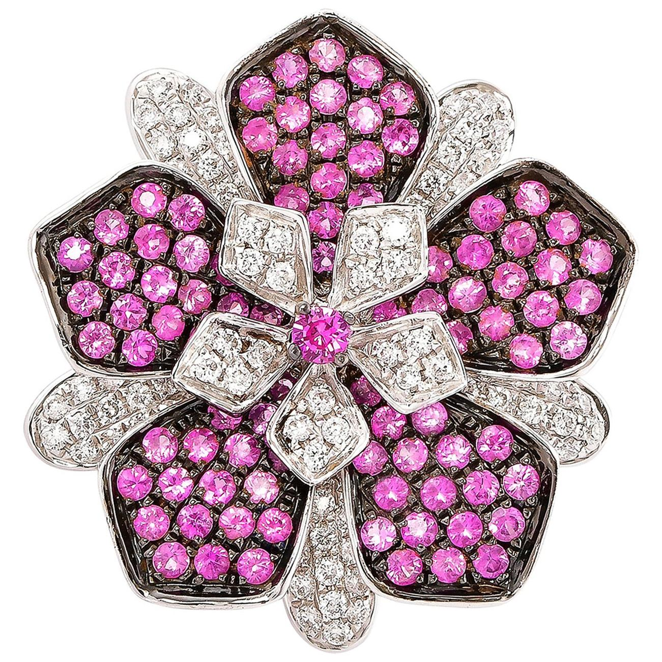 Pink Sapphire & Diamond Floral Ring in 18 Karat White Gold