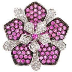 Pink Sapphire & Diamond Floral Ring in 18 Karat White Gold