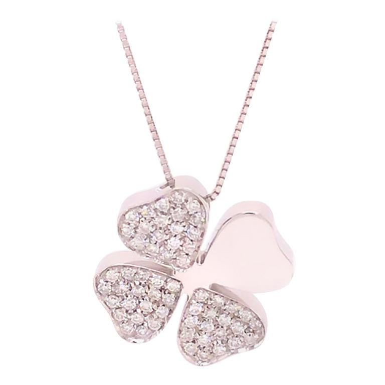 Designer Four Leaf Clover Diamond Necklace in 18k White Gold with Chain