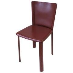 Designer Italian Red Burgundy Leather Side or Desk Chair by Frag