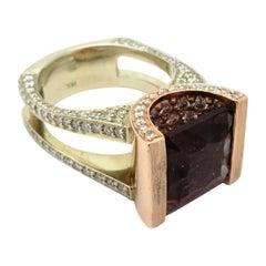 Designer Gauthier 7.00 Carat Tourmaline and Diamond Fashion Statement Ring