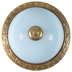 Designer Gilt Ormolu Dore Bronze & French Opaline Dome Ceiling Light Fixture