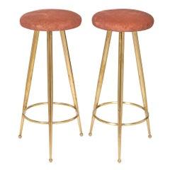 Designer Gio Ponti Style Brass Bar Stools