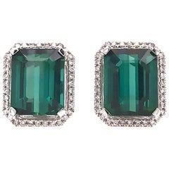 Designer Green Tourmaline Diamond Halo Earrings, 18 Karat White Gold