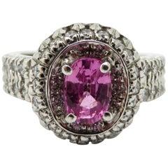 Designer Gregg Ruth 18 Karat Gold Pink Oval Sapphire Round Diamond Halo Ring