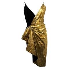 DESIGNER GUCCI Asymmetric Leather/Suede Dress - Black/Gold - Size 40