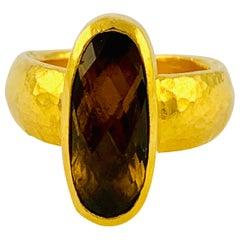 Designer Gurhan Hammered 24 Karat Yellow Gold and Smoky Quartz Ring