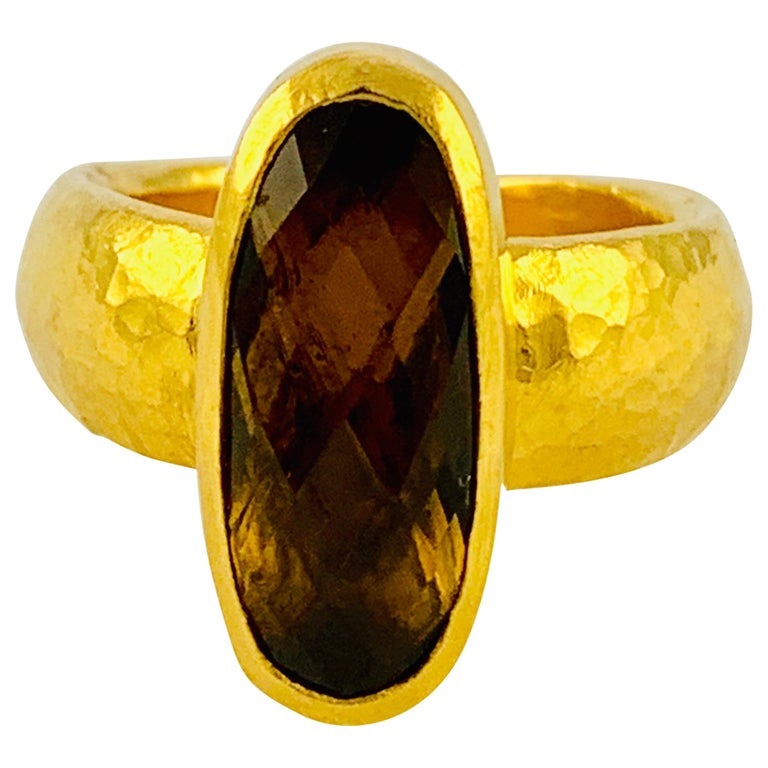 Designer Gurhan Hammered 24 Karat Yellow Gold and Smoky Quartz Ring For Sale