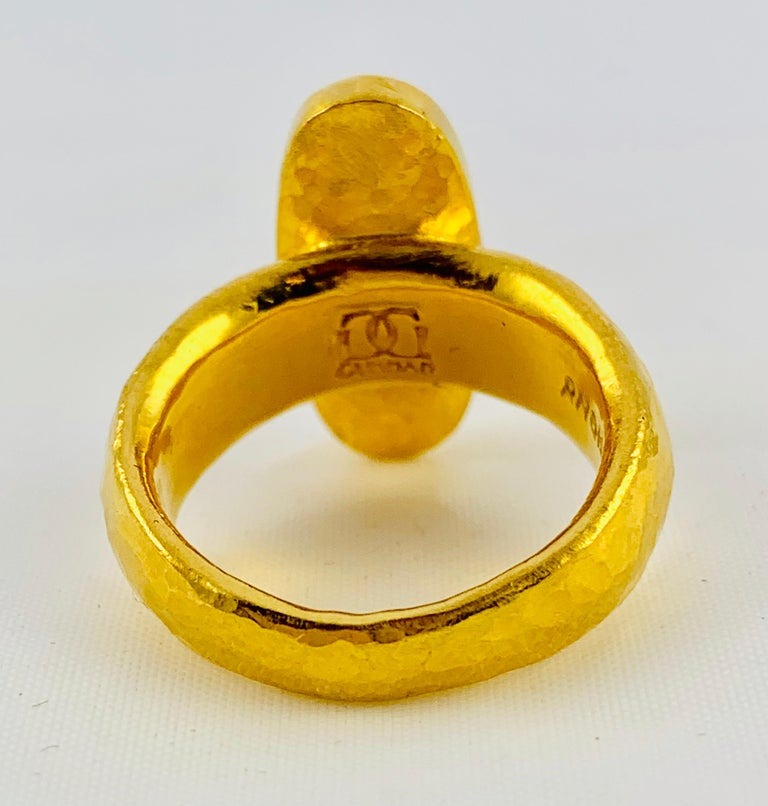 Contemporary Designer Gurhan Hammered 24 Karat Yellow Gold and Smoky Quartz Ring For Sale