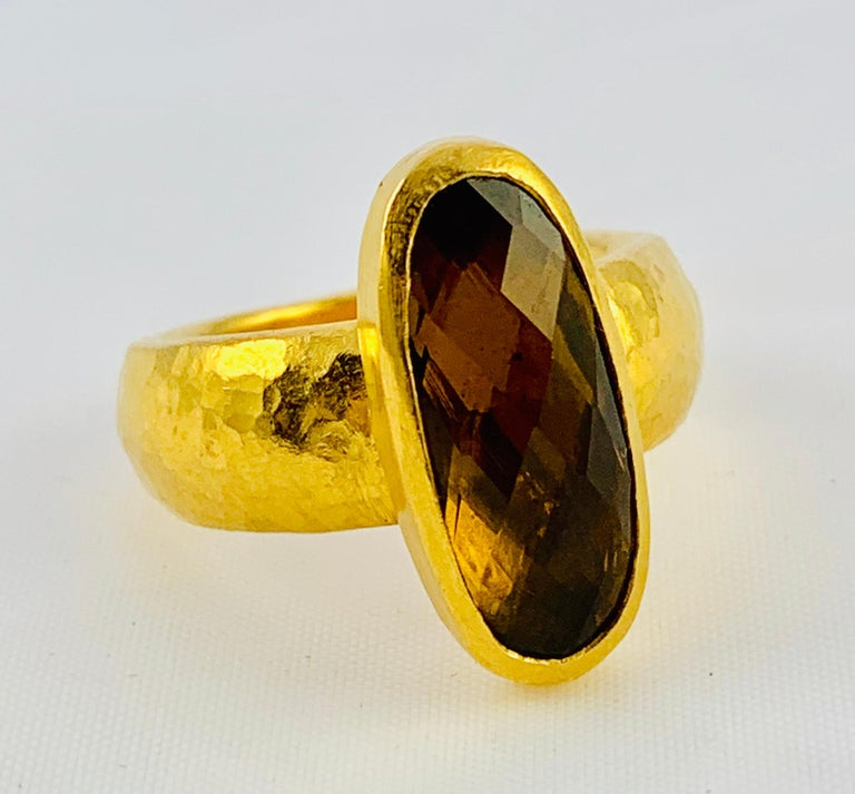 Women's Designer Gurhan Hammered 24 Karat Yellow Gold and Smoky Quartz Ring For Sale
