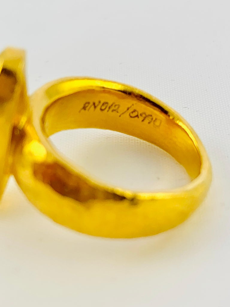 Designer Gurhan Hammered 24 Karat Yellow Gold and Smoky Quartz Ring For Sale 1