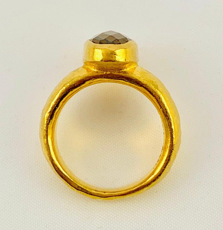 Designer Gurhan Hammered 24 Karat Yellow Gold and Smoky Quartz Ring For Sale 2